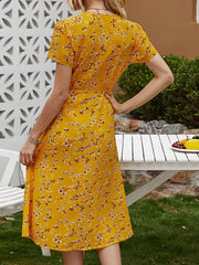 Color=Yellow | Floral Printed  V-Cross Neckline Knee-Length Summer Dress-Yellow 2