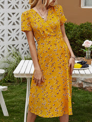 Color=Yellow | Floral Printed  V-Cross Neckline Knee-Length Summer Dress-Yellow 3