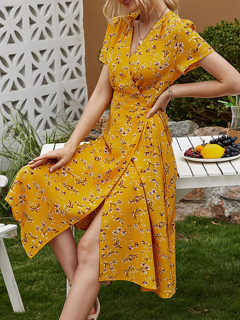 Color=Yellow | Floral Printed  V-Cross Neckline Knee-Length Summer Dress-Yellow 4