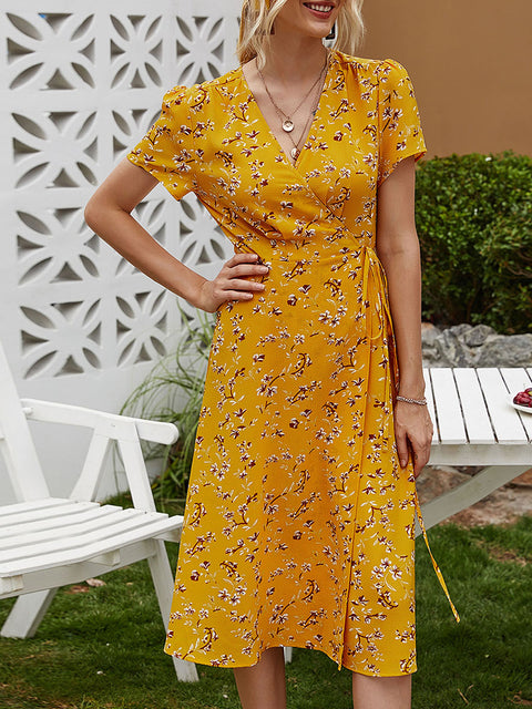 Color=Yellow | Floral Printed  V-Cross Neckline Knee-Length Summer Dress-Yellow 1