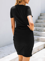 Color=Black | Irregular Female Summer Dress With Sexy Hips And V-Neck Buttons-Black 2
