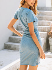 Color=Sky Blue | Irregular Female Summer Dress With Sexy Hips And V-Neck Buttons-Sky Blue 2