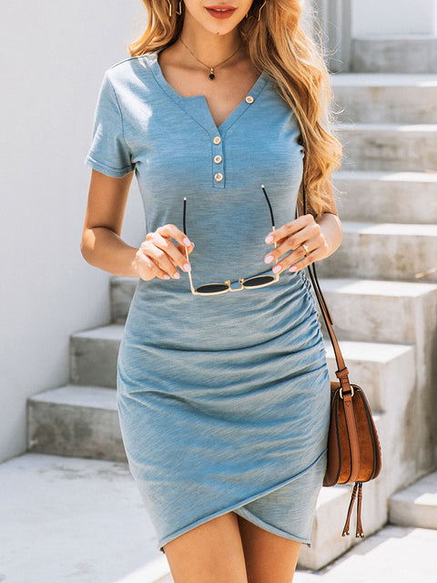 Color=Sky Blue | Irregular Female Summer Dress With Sexy Hips And V-Neck Buttons-Sky Blue 3