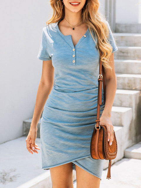Color=Sky Blue | Irregular Female Summer Dress With Sexy Hips And V-Neck Buttons-Sky Blue 4