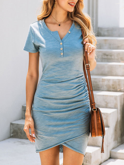 Color=Sky Blue | Irregular Female Summer Dress With Sexy Hips And V-Neck Buttons-Sky Blue 1