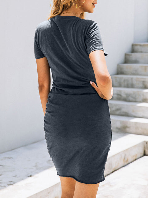 Color=Deep Grey | Irregular Female Summer Dress With Sexy Hips And V-Neck Buttons-Deep Grey 2