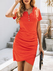 Color=Red | Irregular Female Summer Dress With Sexy Hips And V-Neck Buttons-Red 3