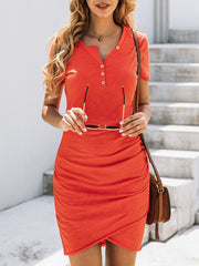 Color=Red | Irregular Female Summer Dress With Sexy Hips And V-Neck Buttons-Red 4