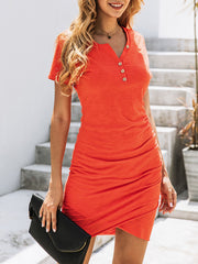Color=Red | Irregular Female Summer Dress With Sexy Hips And V-Neck Buttons-Red 1