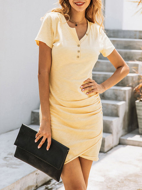 Color=Yellow | Irregular Female Summer Dress With Sexy Hips And V-Neck Buttons-Yellow 3
