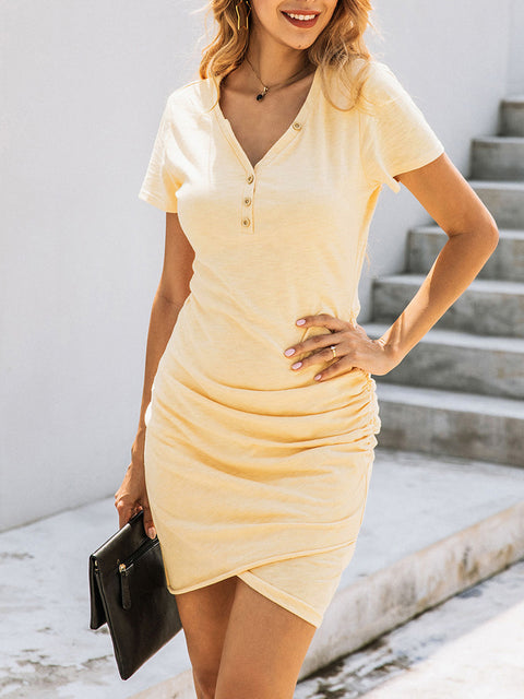 Color=Yellow | Irregular Female Summer Dress With Sexy Hips And V-Neck Buttons-Yellow 4