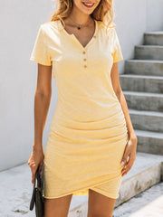 Color=Yellow | Irregular Female Summer Dress With Sexy Hips And V-Neck Buttons-Yellow 1