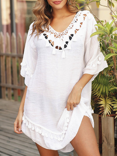 Color=White | Blouse Overall Outside Lotus Leaf Beach Blouse Sunscreen-White 1