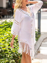 Color=White | Overall Outside Tassel Lotus Leaf Blouse Sunscreen-White 3