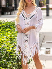 Color=White | Overall Outside Tassel Lotus Leaf Blouse Sunscreen-White 4