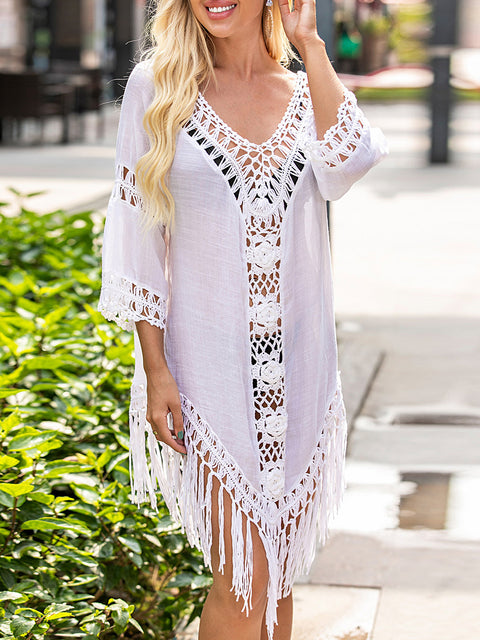 Color=White | Overall Outside Tassel Lotus Leaf Blouse Sunscreen-White 1