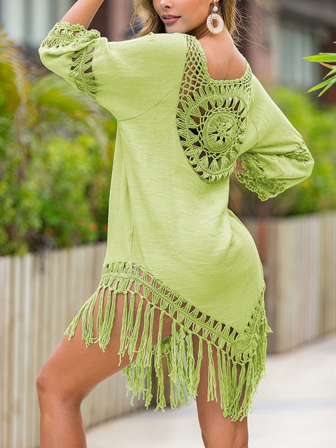 Color=Green | Summer Overall Outside Tassel Beach Blouse Sunscreen-Green 2
