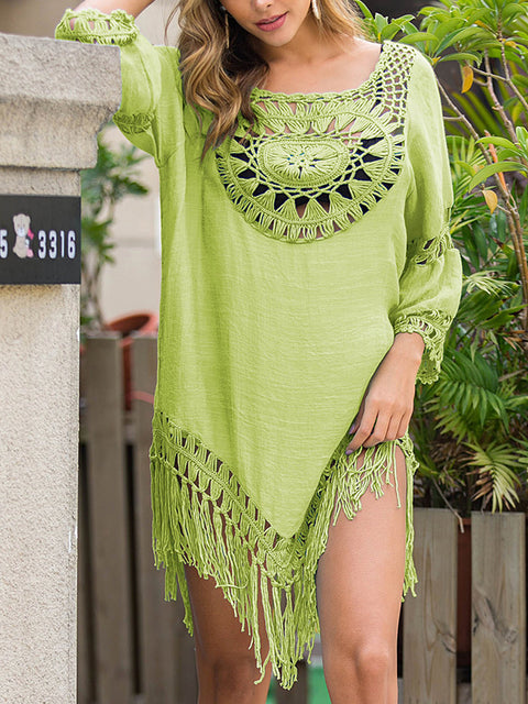 Color=Green | Summer Overall Outside Tassel Beach Blouse Sunscreen-Green 3
