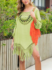 Color=Green | Summer Overall Outside Tassel Beach Blouse Sunscreen-Green 4