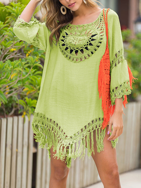 Color=Green | Summer Overall Outside Tassel Beach Blouse Sunscreen-Green 1