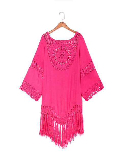 Color=Hot Pink | Summer Overall Outside Tassel Beach Blouse Sunscreen-Hot Pink 2