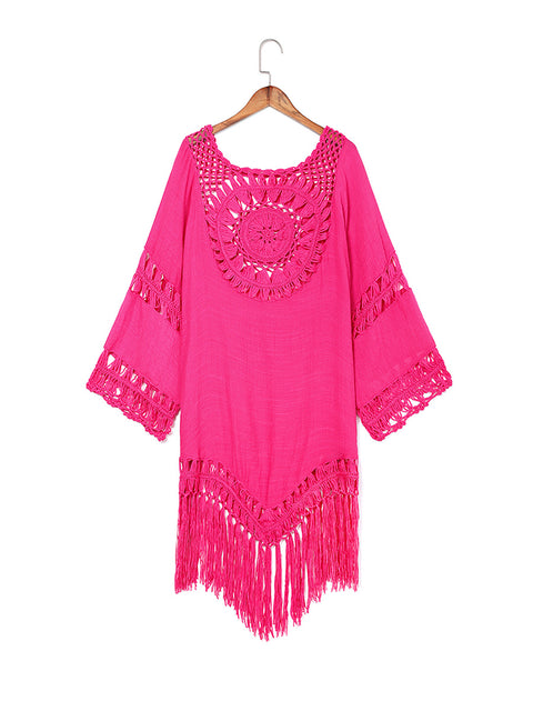 Color=Hot Pink | Summer Overall Outside Tassel Beach Blouse Sunscreen-Hot Pink 1