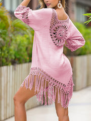 Color=Pink | Summer Overall Outside Tassel Beach Blouse Sunscreen-Pink 2