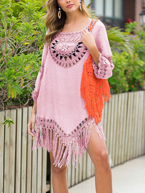 Color=Pink | Summer Overall Outside Tassel Beach Blouse Sunscreen-Pink 4