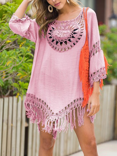 Color=Pink | Summer Overall Outside Tassel Beach Blouse Sunscreen-Pink 1