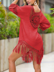 Color=Red | Summer Overall Outside Tassel Beach Blouse Sunscreen-Red 2