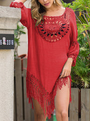 Color=Red | Summer Overall Outside Tassel Beach Blouse Sunscreen-Red 3