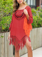 Color=Red | Summer Overall Outside Tassel Beach Blouse Sunscreen-Red 4