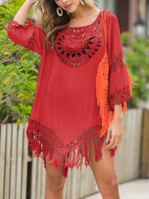 Color=Red | Summer Overall Outside Tassel Beach Blouse Sunscreen-Red 1