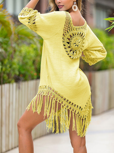 Color=Yellow | Summer Overall Outside Tassel Beach Blouse Sunscreen-Yellow 2
