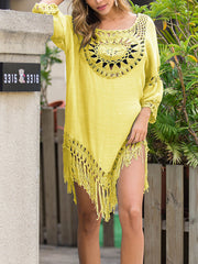 Color=Yellow | Summer Overall Outside Tassel Beach Blouse Sunscreen-Yellow 3