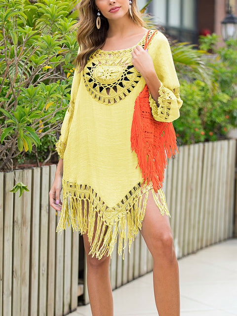 Color=Yellow | Summer Overall Outside Tassel Beach Blouse Sunscreen-Yellow 4