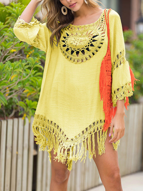 Color=Yellow | Summer Overall Outside Tassel Beach Blouse Sunscreen-Yellow 1