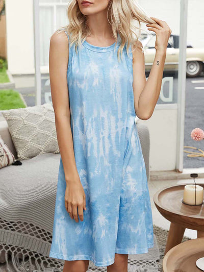 Color=Sky Blue | Tie-Dyed Gradient Loose Tank Sleeveless Dress-Sky Blue 1