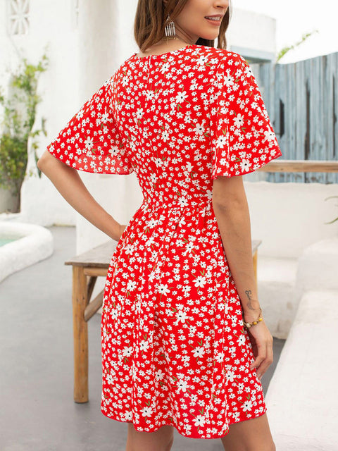 Color=Red | Elegant Floral Printed Summer Dress With V-Neckline-Red 2