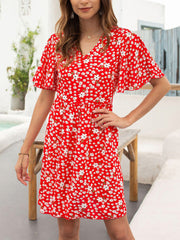Color=Red | Elegant Floral Printed Summer Dress With V-Neckline-Red 1