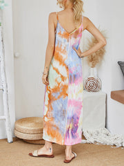 Color=Multicolor | V-Neck Tie-Dye Summer Dresses For Women-Multicolor 2