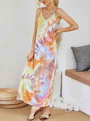 Color=Multicolor | V-Neck Tie-Dye Summer Dresses For Women-Multicolor 3