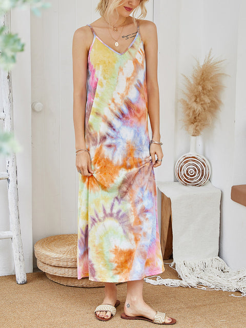 Color=Multicolor | V-Neck Tie-Dye Summer Dresses For Women-Multicolor 4