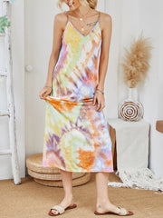 Color=Multicolor | V-Neck Tie-Dye Summer Dresses For Women-Multicolor 1