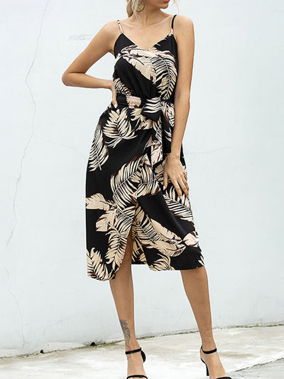 Color=Black | Printed Hanging Wide Loose Casual Dress Chiffon-Black 1