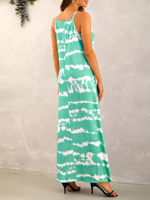 Color=Mushroom | Sexy Floor-Length Tie-Dye Stripe Printed Summer Dress-Mushroom 2