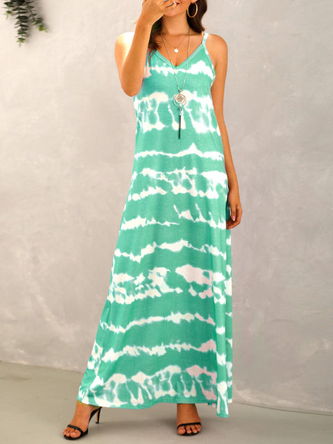 Color=Mushroom | Sexy Floor-Length Tie-Dye Stripe Printed Summer Dress-Mushroom 4