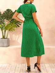 Color=Green | Adorable Polka Dot V Neck Casual Dress With Belt-Green 2