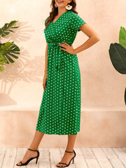 Color=Green | Adorable Polka Dot V Neck Casual Dress With Belt-Green 3