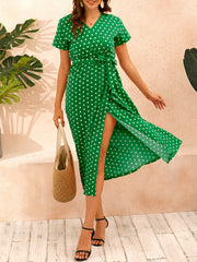 Color=Green | Adorable Polka Dot V Neck Casual Dress With Belt-Green 4
